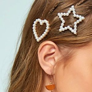 Faux Pearl Heart and Star Set